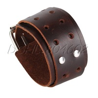 Brown Adjustable Genuine Leather Bracelet Belt Bangle Cuff Wristband