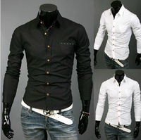 2014 new personality pocket pure high-end men's shirt