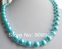 "design Christmas HC--3122 Shinny 12mm pale purple natural South Sea Shell Pearl Necklace 18"" AAA+ 2pc/lot fashion jewelry"