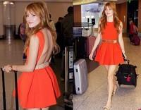 Free shipping 2014 new fashion sexy nightclub Slim orange skating dress backless orange dress