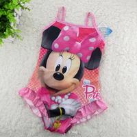 wholesale baby girls swimwear minnie mouse one piece swimsuit pink dots kids summer Beachwear (3T-12T) 5pcs/lot