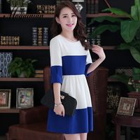 2014 spring one-piece dress color block fashion o-neck a short skirt color block one-piece dress