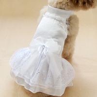 Free Shipping! Pet Supplies Princess One-piece Lace Wedding Dress Silks Satins Puff Dog Clothes