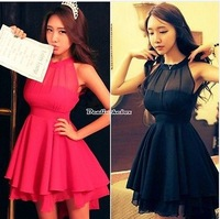 New Arrival Fashion Black,Red Women Summer Halter Neck Lace+Chiffon Sleeveless Slim Irregular Peplum Dress 654452