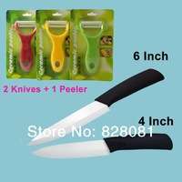 Kitchenware combination with 4 inches, 6 inches  ceramic knives and ceramic sleeper kits ,ceramic kitchenware cutlery set of 3