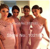 2014 New Arrival Peach Color Satin Mermaid Lace Bridesmaid Dress Long Vestidos De BDG9
