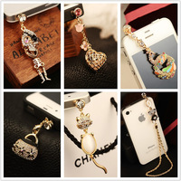 Wholesale kpop 6 style name brand designer fashion luxury diamond anti dust plug/ks rhinestone earphone dust cap for cell phone