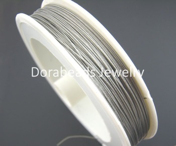 hot- 1Roll Antique Silver Tiger Tail Beading Wire 0.45MM (B01398)