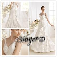 Vintage WD3382 Elegant Straps V-neck Fully Lace Appliqued on Silky Organza Beaded A-line Wedding Dresses vestidos de noiva 2014