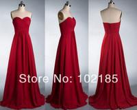 Real Sample Custom Made Floor Length Sweetheart Chiffon Long Red Bridesmaid Dress Free Shipping BDH9