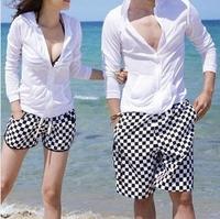 New 2014 polyester Black and white plaid 3sizes lovers beach shorts swimwear shorts women/man