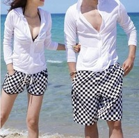 free shipping New arrive Black and white plaid 3sizes lovers beach shorts