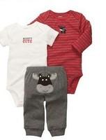 BCS099 free shipping hot selling Original Carter's baby boys sets top quality cartoon clothes 2 bodysuits+pant 3pcs suit retail