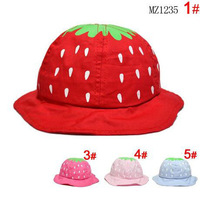 2014 Summer Children Sun Hats Boys Girls Strawberries Design Sun Caps Straw Hat Kids Accessories Free Shipping 5 PCS