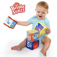 4 pcs/lot Bright Starts Grab and Stack Blocks baby education toys