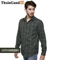 New 2014 Spring Cotton Casual men shirt Korean long sleeve high quality fabric green plaid shirts Size: M-XXXL