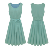 Womens Summer Chiffon Solid Casual Sleeveless Dresses Ladies Wear Dress with Belt in 2014 Spring New