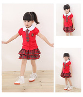Free Shipping 5set/lot baby girld's College Wind cothing set short sleeve t-shirt+plaid skirt+necktie 3pcs set kids clothes set
