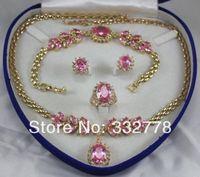 "natural pink zircon necklace 18 ""bracelet 7.5"" Earring Ring (6# -9#)"