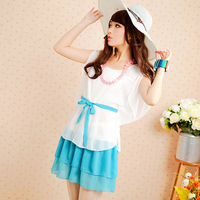 2014 summer hot sale women's short-sleeve slim chiffon dress sweet gentlewomen sashes mini chiffon dress young lady dress