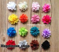 16color Hair accessory 200pcs 2inch mini DIY Chiffon Satin Flowers Hair Flowers Corsage Flat Back shoes flower hair accessory