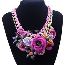2014 Spring New Design Multicolor Metal Flower Rhinestones Crystal Bib Necklaces Pendant Luxury Statement Necklace Jewelry