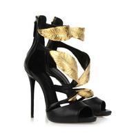 2014 New Gold Leaf Ankle Wrap High Heel Sandals Sexy Gladiator Style Sandals Designer Women Dress Shoe Summer Platform Pumps