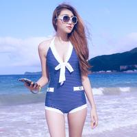 2013 female swimwear one piece swimsuit stripe swimwear
