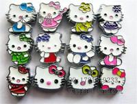Mix 8MM KT cartoon hello kitty charms, enamel slide charms hello kitty beads mixed, hello kitty pendant jewelry slider charms