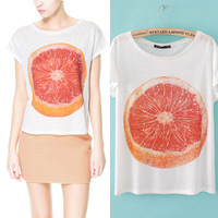 T-shirt 2014 linen orange print t-shirt women's 100% short-sleeve cotton t-shirt o-neck pullover top 3104 - 85