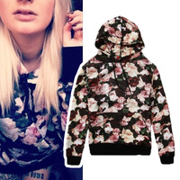 Free Shipping New 2014 Women Men Couple European Brand Fashion Supreme Loose Sweatshirts Floral Rose Print Pullover Hoodies 6703