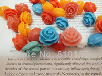 50pcs 20mm Colors Mixed Natural Coral Beads Carved Rose Beads Hole Thread