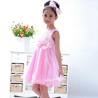 Exclusive promotions! 2014 new pleated dress. Sweet princess dress. Print dress girl. Children's clothes. Free shipping!