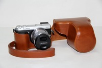 Brown Leather Camera Case Bag For Panasonic Lumix DMC-GX7 GX7 (14-42mm) + Free shipping