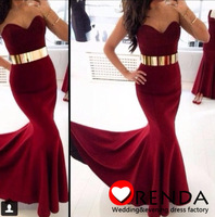 Custom Made 2014 New Dark Red Spandex Sexy Hot Mermaid Long Evening Prom Dresses Orenda
