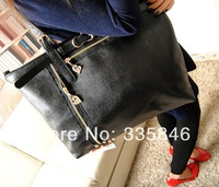 genuine leather Lady Solid Color  Messenger Bags/ Handbags with fashion style black and red color