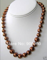 "design Christmas 10mm AAA Chocolate Shell Pearl Necklace 18""  fashion jewelry"