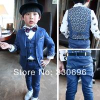 Children's clothing Dark Blue child suit formal dress three pieces set male child suit vest western-style trousers