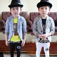 2014 spring stripe fluid child suit male child blazer outerwear