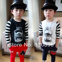 Children's clothing imsweet2014 all-match child stripe cartoon long-sleeve T-shirt male female child basic shirt