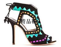 Sophia webster 2013 sandals women's shoes candy color ultra high heels color block decoration metal sheep
