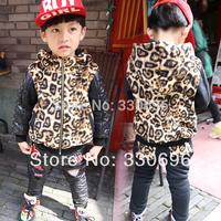 Korean version of the new winter children's clothing plus velvet hooded black leopard fight boys casual cotton children suit