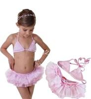 Fashion child swimwear female child split swimsuit three-bikini paragraph
