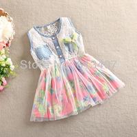 2014 Girl Clothing New Summer Denim Dress for Girls Brand Children Dresses Cute Beautiful Top Quality Kids Girl Jeans Dress Hot