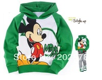 Children  1pcs kids long-sleeved t-shirt  Green Mickey Minnie Hello  As Boy  free shipping