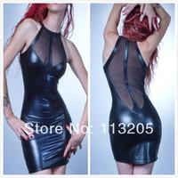 Fetish Black PVC Dress Club Wear Ladies Bondage Fancy Dress Translucent Mesh Back Costume