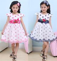 Free shipping 2014 fashion dot sashes bowtie children dress girls summer dresses