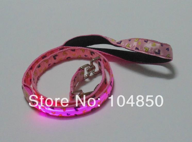 High Bright LED Luminous Optical Fiber Nylon Webbing Dog Leads With Warm Heart Pattern Soft Leather Handle(China (Mainland))