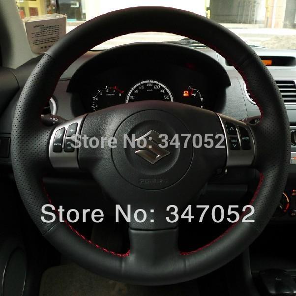 Suzuki Swift Steering Wheel Cover Car Special Hand-stitched Black Leather Winter Suzuki Swift Steering Wheel Cover(China (Mainland))