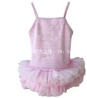 Fashion child swimwear female child spaghetti strap one piece swimsuit ballet costume paragraph